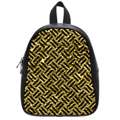 Woven2 Black Marble & Gold Foil (r) School Bag (small) by trendistuff