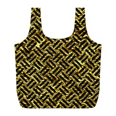 Woven2 Black Marble & Gold Foil (r) Full Print Recycle Bags (l)