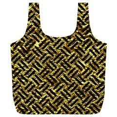 Woven2 Black Marble & Gold Foil (r) Full Print Recycle Bags (l)  by trendistuff
