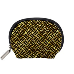 Woven2 Black Marble & Gold Foil (r) Accessory Pouches (small)  by trendistuff