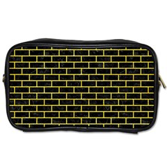 Brick1 Black Marble & Gold Glitter Toiletries Bags 2 Side by trendistuff
