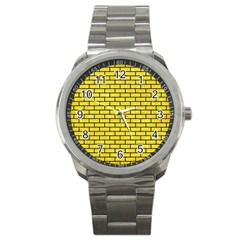 Brick1 Black Marble & Gold Glitter (r) Sport Metal Watch by trendistuff