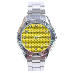 Brick1 Black Marble & Gold Glitter (r) Stainless Steel Analogue Watch by trendistuff