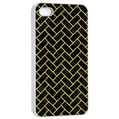 Brick2 Black Marble & Gold Glitter Apple Iphone 4/4s Seamless Case (white) by trendistuff
