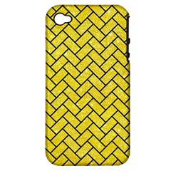 Brick2 Black Marble & Gold Glitter (r) Apple Iphone 4/4s Hardshell Case (pc+silicone) by trendistuff