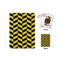 Chevron1 Black Marble & Gold Glitter Playing Cards (mini)  by trendistuff