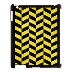 Chevron1 Black Marble & Gold Glitter Apple Ipad 3/4 Case (black) by trendistuff