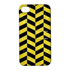Chevron1 Black Marble & Gold Glitter Apple Iphone 4/4s Hardshell Case With Stand by trendistuff