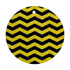 Chevron3 Black Marble & Gold Glitter Round Ornament (two Sides) by trendistuff