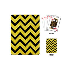Chevron9 Black Marble & Gold Glitter (r) Playing Cards (mini)  by trendistuff