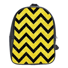 Chevron9 Black Marble & Gold Glitter (r) School Bag (xl) by trendistuff
