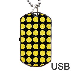 Circles1 Black Marble & Gold Glitter Dog Tag Usb Flash (one Side)
