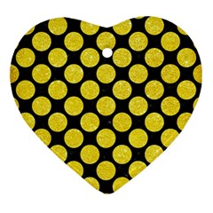 Circles2 Black Marble & Gold Glitter Ornament (heart) by trendistuff