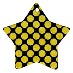 Circles2 Black Marble & Gold Glitter Star Ornament (two Sides) by trendistuff