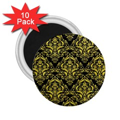Damask1 Black Marble & Gold Glitter 2 25  Magnets (10 Pack)