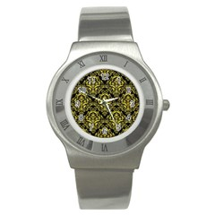 Damask1 Black Marble & Gold Glitter Stainless Steel Watch
