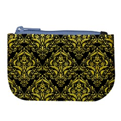 Damask1 Black Marble & Gold Glitter Large Coin Purse by trendistuff