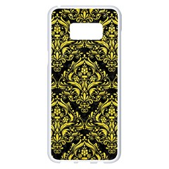 Damask1 Black Marble & Gold Glitter Samsung Galaxy S8 Plus White Seamless Case by trendistuff