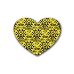Damask1 Black Marble & Gold Glitter (r) Rubber Coaster (heart)