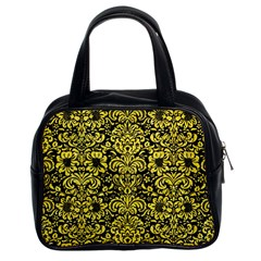 Damask2 Black Marble & Gold Glitter Classic Handbags (2 Sides) by trendistuff