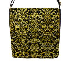 Damask2 Black Marble & Gold Glitter Flap Messenger Bag (l)  by trendistuff