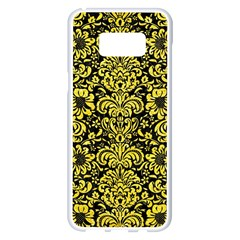 Damask2 Black Marble & Gold Glitter Samsung Galaxy S8 Plus White Seamless Case by trendistuff