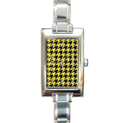 Houndstooth1 Black Marble & Gold Glitter Rectangle Italian Charm Watch by trendistuff