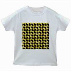 Houndstooth1 Black Marble & Gold Glitter Kids White T Shirts by trendistuff