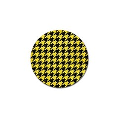 Houndstooth1 Black Marble & Gold Glitter Golf Ball Marker by trendistuff