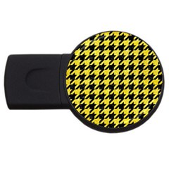 Houndstooth1 Black Marble & Gold Glitter Usb Flash Drive Round (2 Gb) by trendistuff