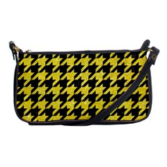 Houndstooth1 Black Marble & Gold Glitter Shoulder Clutch Bags by trendistuff
