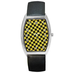 Houndstooth2 Black Marble & Gold Glitter Barrel Style Metal Watch by trendistuff