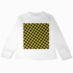 Houndstooth2 Black Marble & Gold Glitter Kids Long Sleeve T Shirts