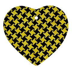 Houndstooth2 Black Marble & Gold Glitter Heart Ornament (two Sides) by trendistuff