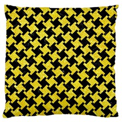 Houndstooth2 Black Marble & Gold Glitter Large Cushion Case (two Sides) by trendistuff