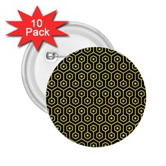 Hexagon1 Black Marble & Gold Glitter 2 25  Buttons (10 Pack)  by trendistuff