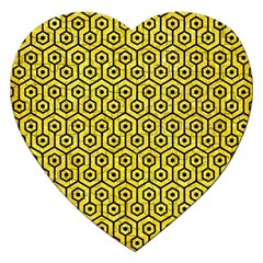 Hexagon1 Black Marble & Gold Glitter (r) Jigsaw Puzzle (heart) by trendistuff
