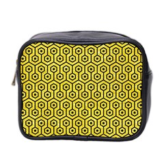 Hexagon1 Black Marble & Gold Glitter (r) Mini Toiletries Bag 2 Side by trendistuff