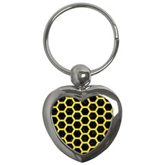 Hexagon2 Black Marble & Gold Glitter Key Chains (heart)  by trendistuff