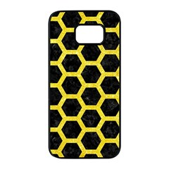 Hexagon2 Black Marble & Gold Glitter Samsung Galaxy S7 Edge Black Seamless Case by trendistuff