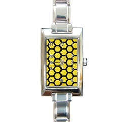 Hexagon2 Black Marble & Gold Glitter (r) Rectangle Italian Charm Watch by trendistuff