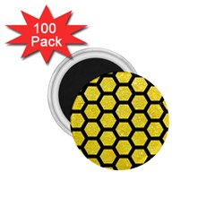 Hexagon2 Black Marble & Gold Glitter (r) 1 75  Magnets (100 Pack)  by trendistuff