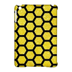Hexagon2 Black Marble & Gold Glitter (r) Apple Ipad Mini Hardshell Case (compatible With Smart Cover) by trendistuff