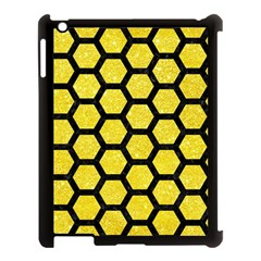 Hexagon2 Black Marble & Gold Glitter (r) Apple Ipad 3/4 Case (black) by trendistuff