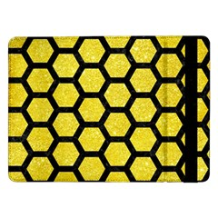 Hexagon2 Black Marble & Gold Glitter (r) Samsung Galaxy Tab Pro 12 2  Flip Case by trendistuff