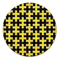 Puzzle1 Black Marble & Gold Glitter Magnet 5  (round) by trendistuff