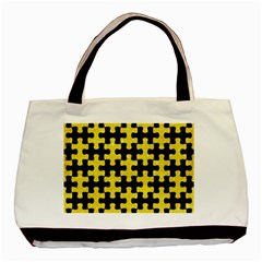 Puzzle1 Black Marble & Gold Glitter Basic Tote Bag by trendistuff