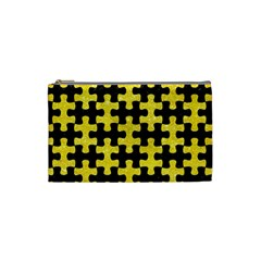 Puzzle1 Black Marble & Gold Glitter Cosmetic Bag (small)  by trendistuff