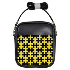 Puzzle1 Black Marble & Gold Glitter Girls Sling Bags by trendistuff