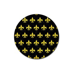 Royal1 Black Marble & Gold Glitter (r) Rubber Coaster (round)  by trendistuff